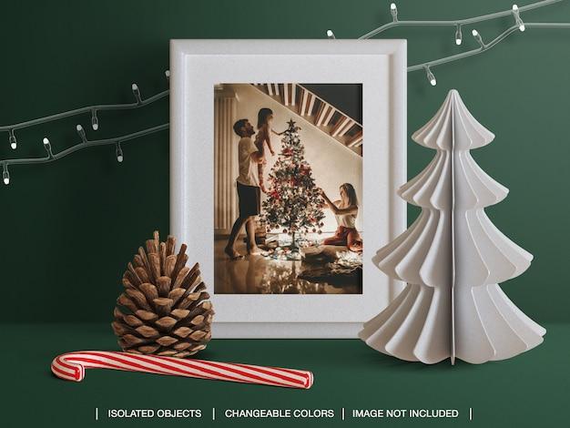 Mockup of holiday greeting photo card frame with christmas decoration scene creator Premium Psd