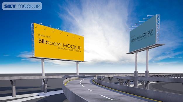 Mockup image of billboard beside highway Premium Psd