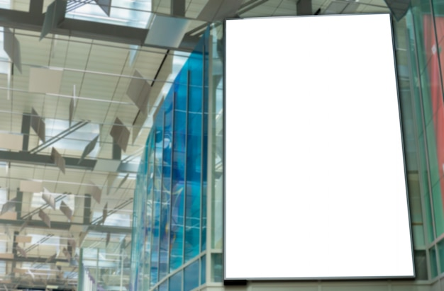 Mockup image of blank billboard posters and led in the airport terminal station for advertising Premium Psd