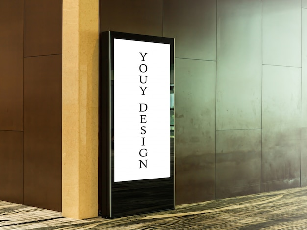 Mockup image of blank billboard posters and led in the airport terminal station Premium Psd