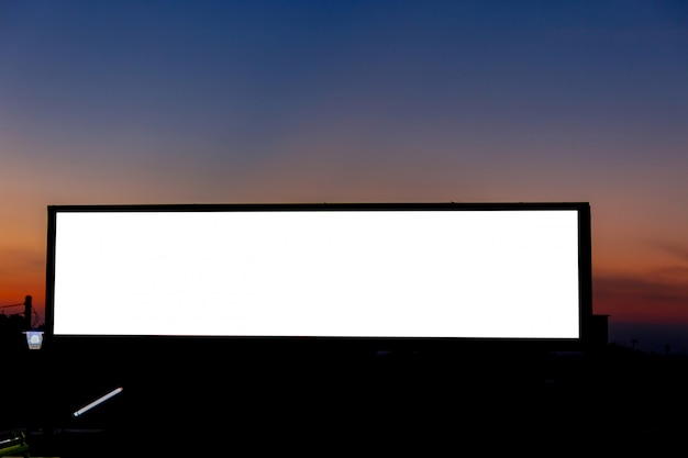 Mockup image of blank billboard white screen posters and led in the morning sky for advertising Premium Psd