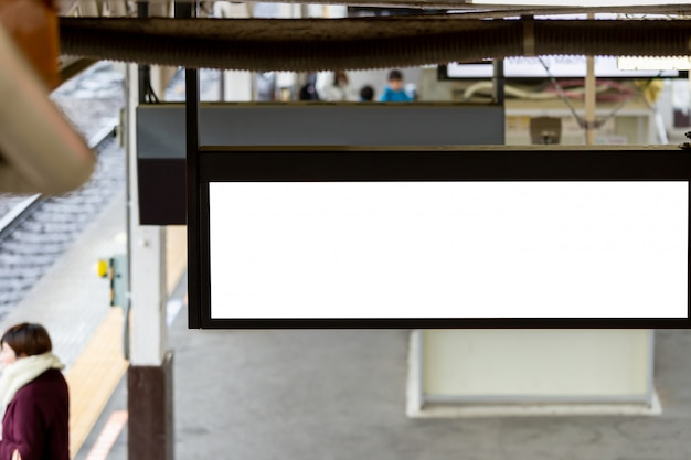Mockup image of blank billboard white screen posters and led in the subway station for advertising Premium Psd