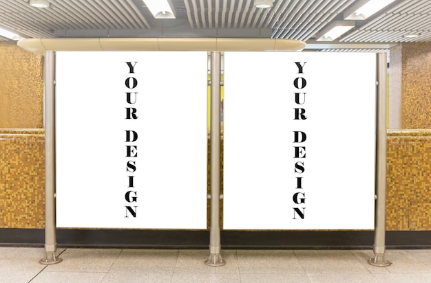 Mockup image of blank billboard white screen posters and led in the subway station Premium Psd