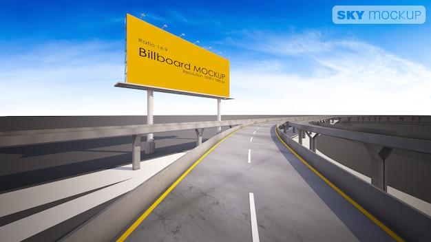 Изображение модель-макета афиши перевода 3d около шоссе. Premium Psd