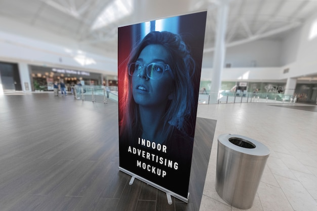 Mockup of indoor advertising vertical poster rollup stand in mall shop ping centre Premium Psd