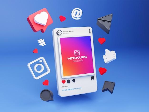 Mockup instagram social media 3d