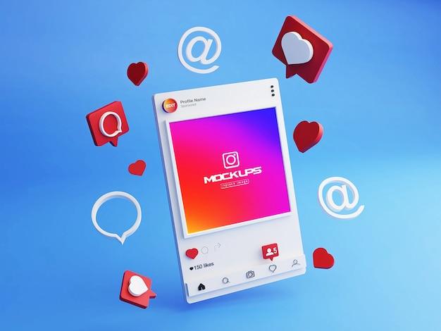 Mockup instagram social media 3d Premium Psd
