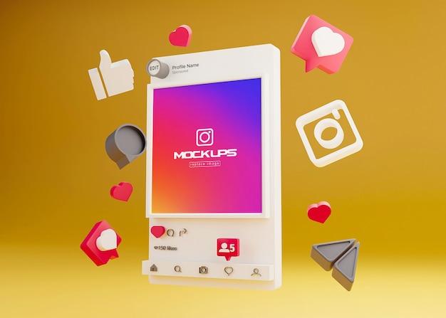 Mockup Instagram 소셜 미디어 3d 프리미엄 PSD 파일