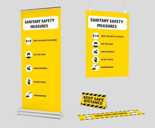 Mockup kit of signage for the new normality after the covid-19 pandemic Premium Psd