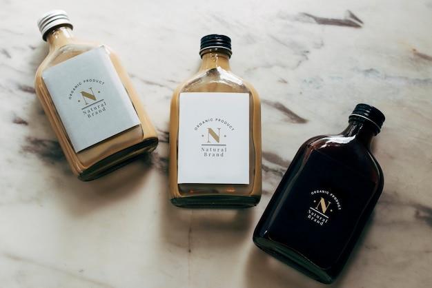 Mockup of liquid bottle labels Free Psd