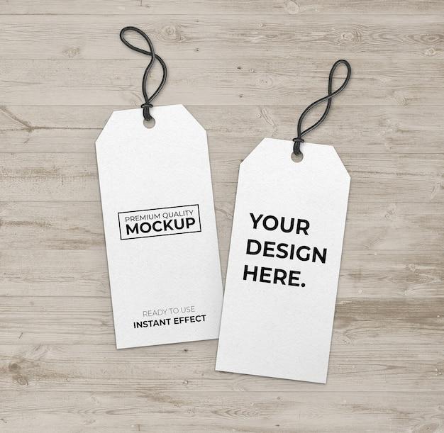 Mockup long white label with black strip Free Psd