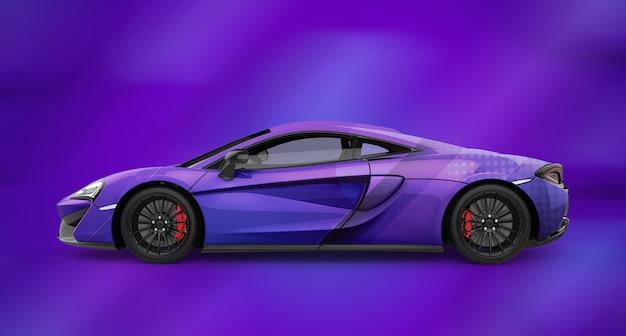 Mockup of a luxury generic purple sport car Premium Psd