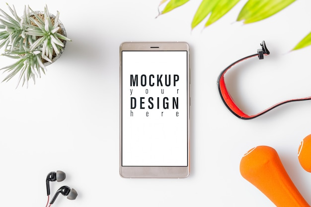Mockup mobile phone fitness and healthy concept Premium Psd
