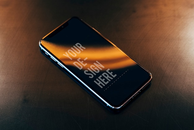 Mockup of a mobile phone screen Free Psd