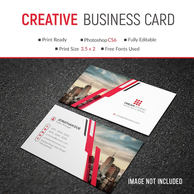 Mockup of modern business card with photo Premium Psd