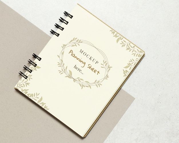 Mockup notebook paper on stone background Premium Psd
