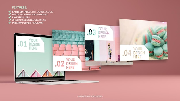 Mockup of notebook and slides floating Premium Psd