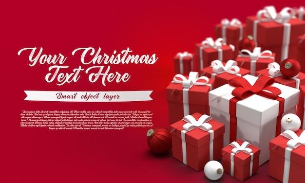 선물을 많이 가진 빨간색 배경에 크리스마스 배너의 모형 프리미엄 PSD 파일