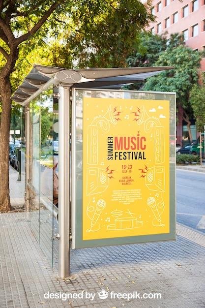 Mockup of billboard at bus stop Free Psd