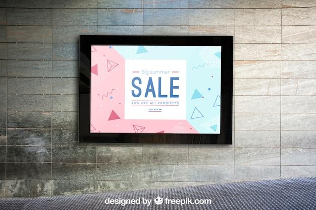 Mockup of billboard on urban wall Free Psd