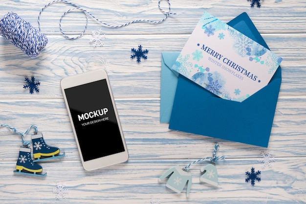 空白の画面のスマートフォンと空のテンプレート文字のモックアップ Premium Psd
