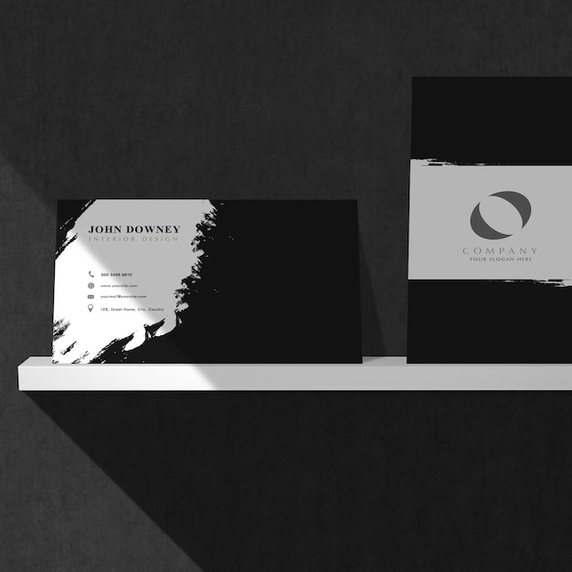 Mockup Of Business Cards On White Shelf Psd File Premium Download