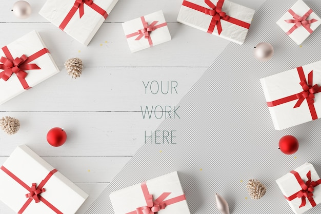 Макет рождественских подарочных коробок с шарами и украшениями Premium Psd