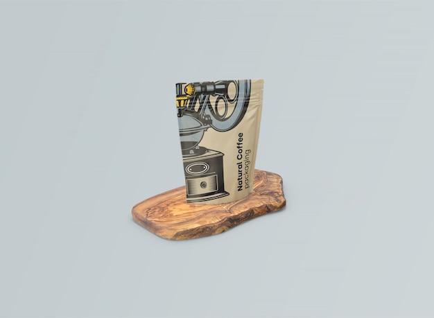 Макет кофейных мешков на оливковом столе psd Бесплатные Psd