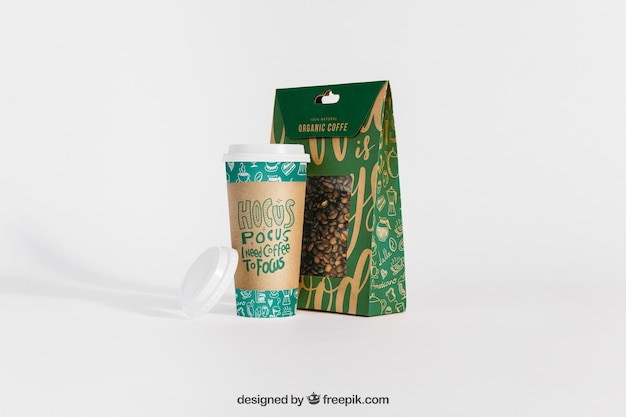 Mockup of coffee cup and bag