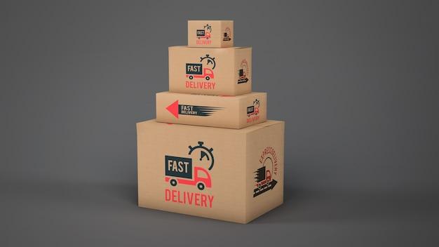 Макет коробок доставки разных размеров Бесплатные Psd