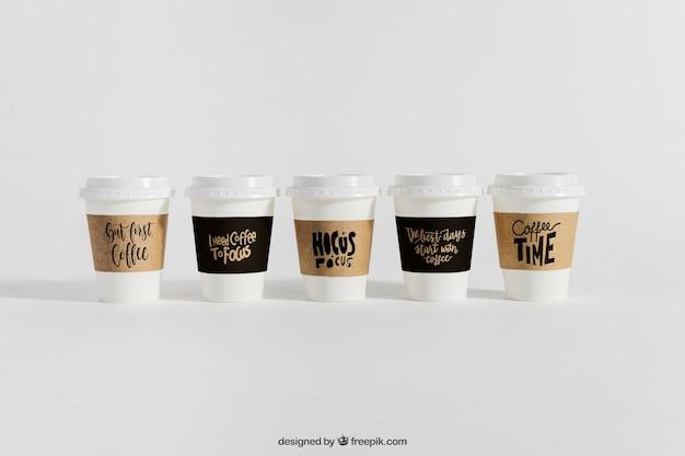 Mockup of five coffee cups Free Psd