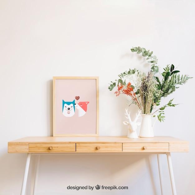 Mockup of frame on desk Free Psd