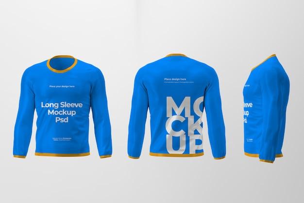 前面、背面、側面のビューを持つ孤立した長袖tシャツデザインのモックアップ Premium Psd