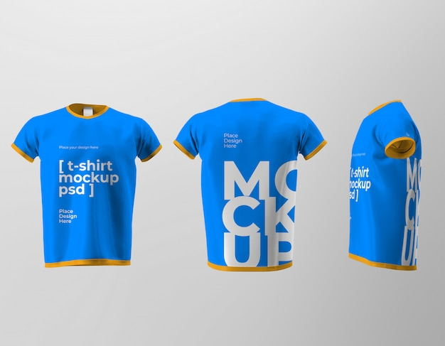 Мокап изолированного дизайна футболки с видами спереди, сзади и сбоку Premium Psd