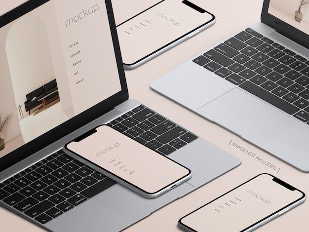 아이소 메트릭 맥북 노트북 및 스마트 폰 장치 화면 모형 프리미엄 PSD 파일