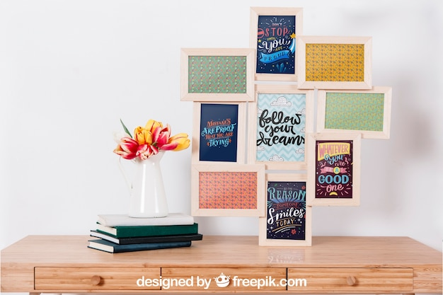 Mockup of many frames on wall PSD file | Free Download