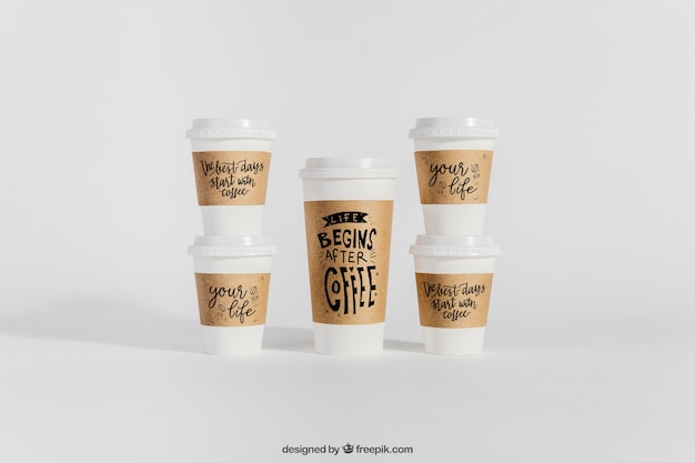Mockup of plastic coffee cups PSD file | Free Download