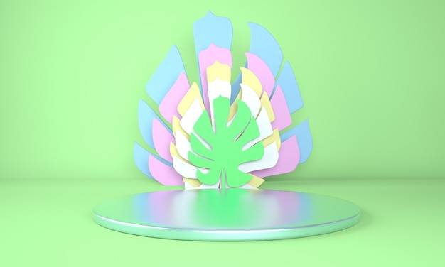 Monstera와 연단의 모형은 3d 렌더링에서 나뭇잎 프리미엄 PSD 파일