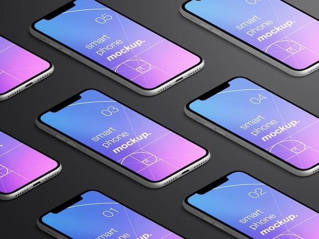 現実的な孤立した等尺性のスマートフォンアプリ画面のモックアップ Premium Psd