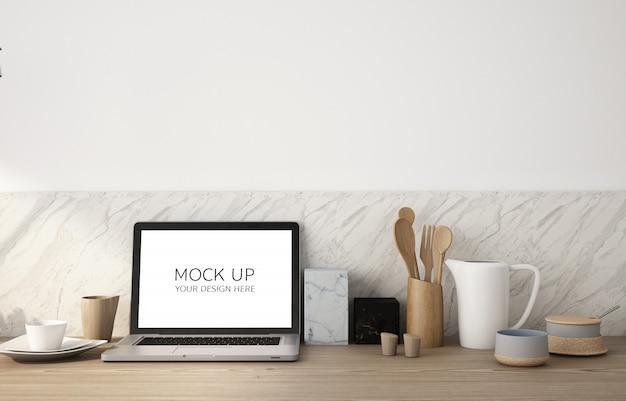 Макет экрана ноутбука на деревянный стол и белая стена Premium Psd
