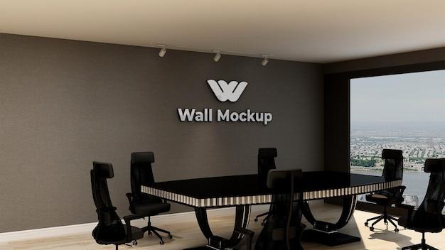 エレガントでクラシックなビジネス屋内ワークスペースのシルバーオフィスロゴのモックアップ Premium Psd