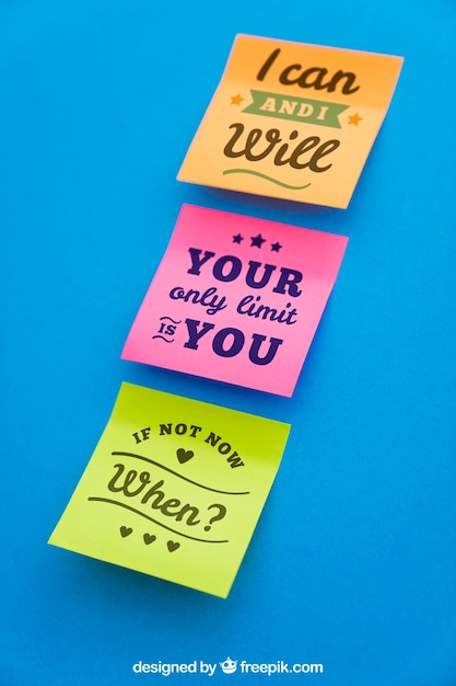 Quotes On Sticky Notes: Mockup Of Sticky Notes With Quotes PSD File