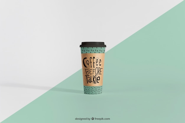 Mockup of tall coffee cup Free Psd