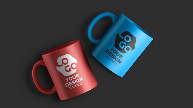 Мокап двухцветной керамической кофейной кружки Premium Psd