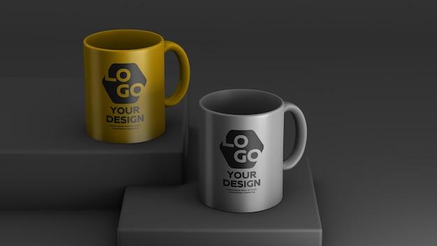 2 색 세라믹 커피 머그의 모형 프리미엄 PSD 파일