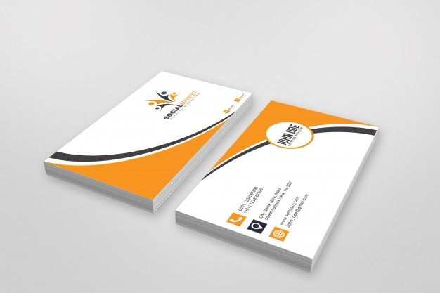Mockup of two stacks of business cards Free Psd