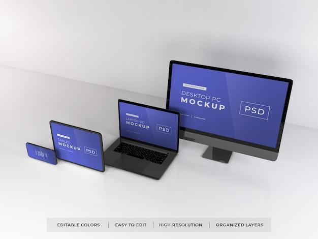 다양한 디지털 기기의 모형 프리미엄 PSD 파일