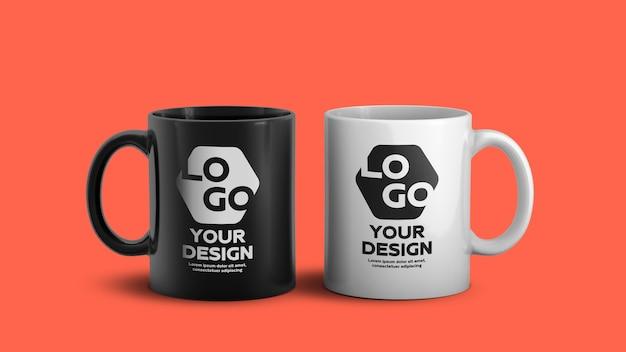 Мокап белой и черной керамической кофейной кружки Premium Psd