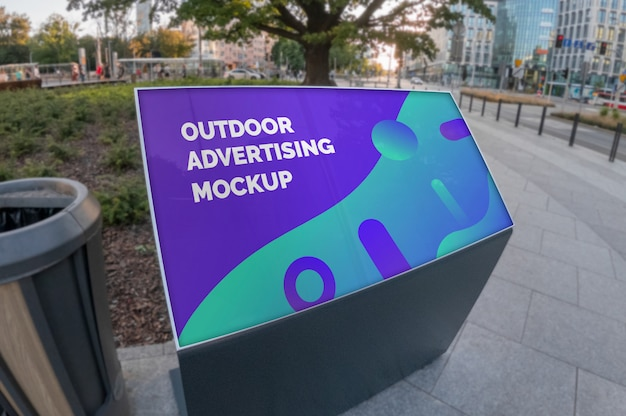 Mockup of outdoor landscape advertising stand on city street pavement Premium Psd