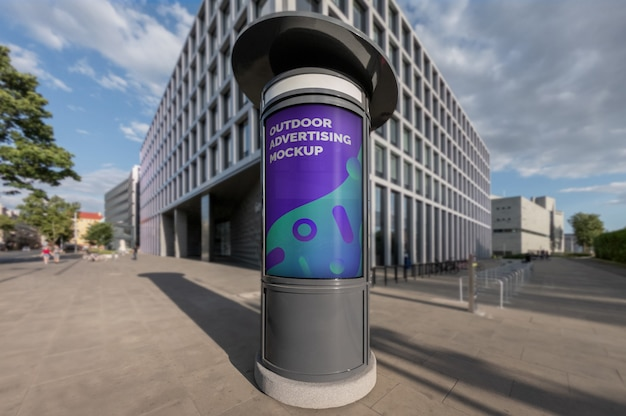Mockup of outdoor vertical advertising booth on city street pavement Premium Psd